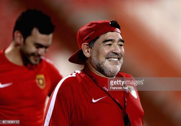 Diego Maradona the new head coach of Fujairah FC looks on during a training session at Fujairah Stadium on July 24 2017 in Fujairah United Arab...