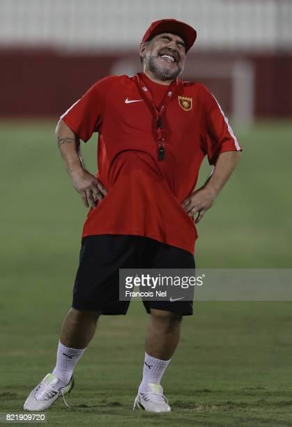Diego Maradona the new head coach of Fujairah FC reacts during a training session at Fujairah Stadium on July 24 2017 in Fujairah United Arab Emirates