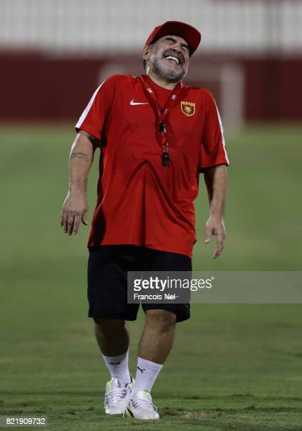 Diego Maradona the new head coach of Fujairah FC reacts during a training session at Fujairah Stadium on July 24 2017 in Fujairah United Arab Emirates