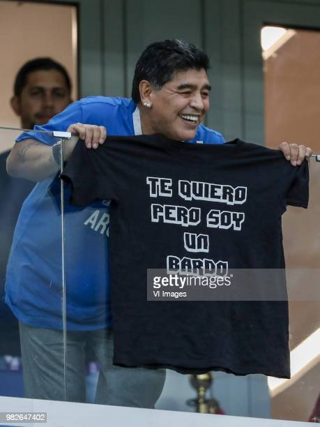 Diego Mardona shows a shirt I love you but I'm a bard during the 2018 FIFA World Cup Russia group D match between Argentina and Croatia at the...