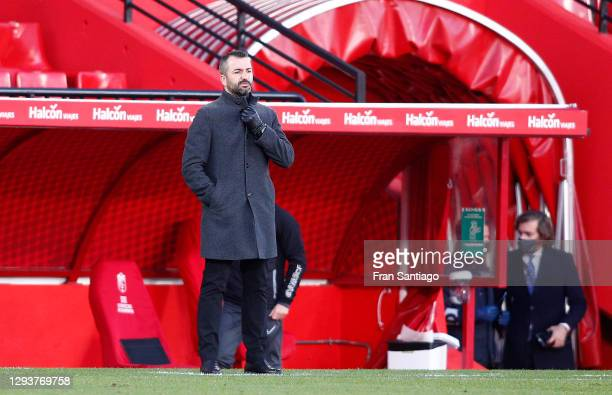 Diego Martinez, Head Coach of Granada CF looks on during the La Liga Santander match between Granada CF and Valencia CF at Estadio Nuevo Los Carmenes...