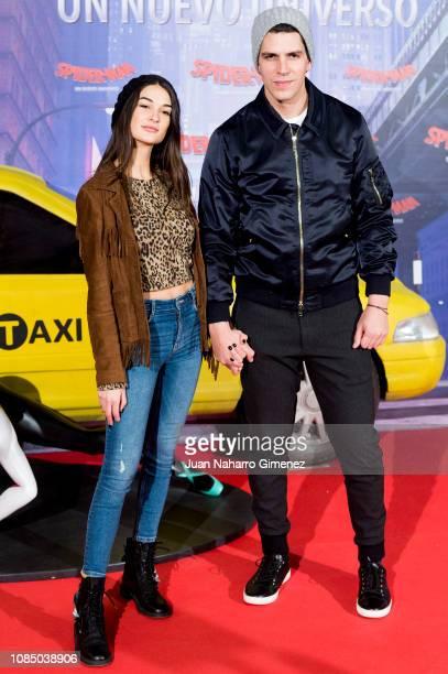 Diego Matamoros and Estela Grande attend the 'SpiderMan Un Nuevo Universo' premiere at Palacio de Cibeles on December 20 2018 in Madrid Spain