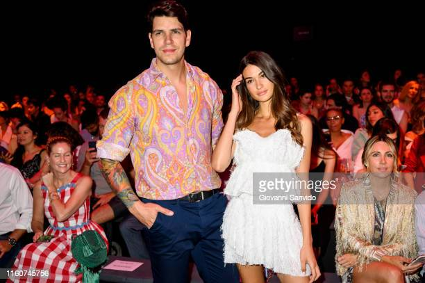 Diego Matamoros and Estella Grande attend CUSTO fashion show during the Mercedes Benz Fashion Week Spring/Summer 2020 on July 08 2019 in Madrid Spain
