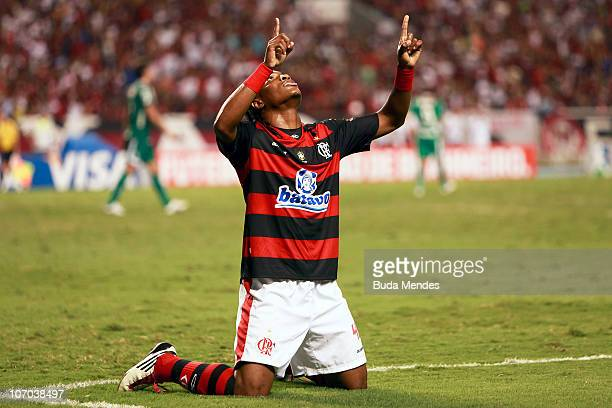 Diego Mauricio of Flamengo celebrates a scored goal during a match against Guarani as part of the Brazilian Championship 2010 at the Engenhao Stadium...