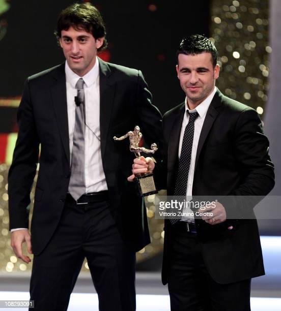 Diego Milito and Antonio Di Natale attend the 'Oscar Del Calcio AIC 2010' Italian Football Awards on January 24 2011 in Milan Italy Oscar del Calcio...