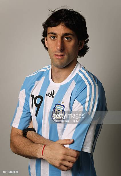 Diego Milito of Argentina poses during the official FIFA World Cup 2010 portrait session on June 5 2010 in Pretoria South Africa