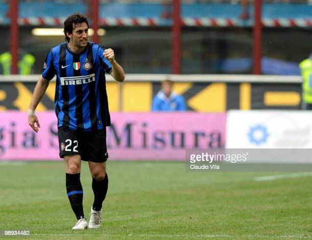 Diego Milito of FC Internazionale Milano celebrates after scoring his team's third goal during the Serie A match between FC Internazionale Milano and...