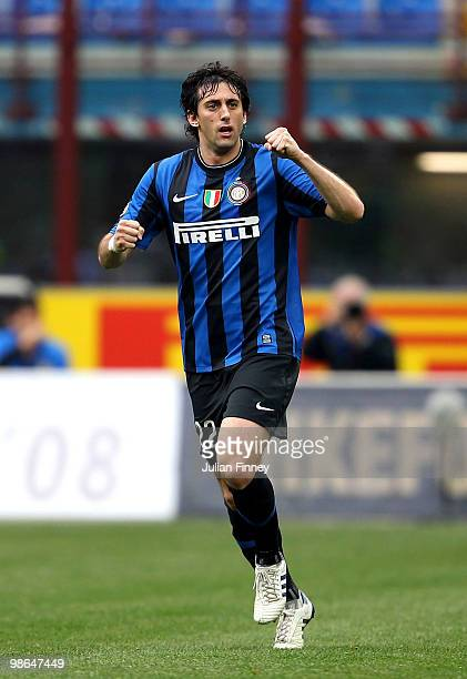 Diego Milito of Inter celebrates scoring the first goal during the Serie A match between FC Internazionale Milano and Atalanta BC at Stadio Giuseppe...