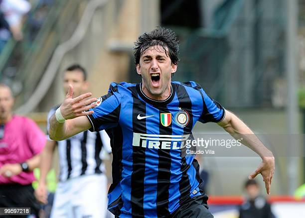 Diego Milito of Inter Milan celebrates after scoring his team's first goal during the Serie A match between AC Siena and FC Internazionale Milano at...
