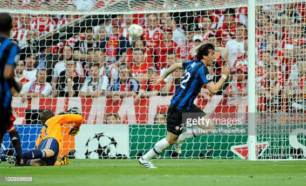 Diego Milito of Inter Milan celebrates after scoring the first of his two goals during the UEFA Champions League Final match between Bayern Munich...