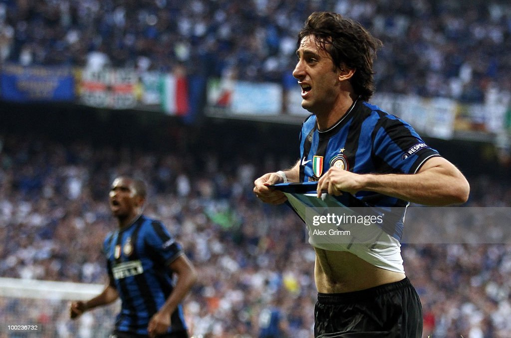 Diego Milito of Inter Milan celebrates after scoring the opening goal during the UEFA Champions League Final match between FC Bayern Muenchen and Inter Milan at the Estadio Santiago Bernabeu on May 22, 2010 in Madrid, Spain.