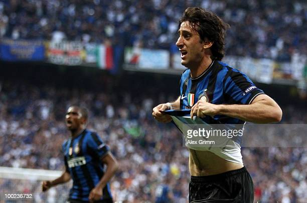 Diego Milito of Inter Milan celebrates after scoring the opening goal during the UEFA Champions League Final match between FC Bayern Muenchen and...