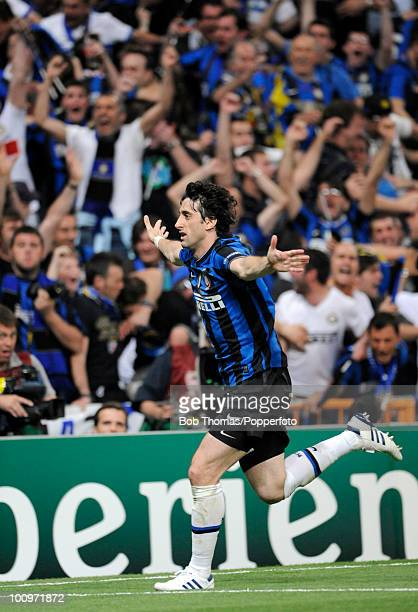Diego Milito of Inter Milan celebrates after scoring the second of his two goals during the UEFA Champions League Final match between Bayern Munich...