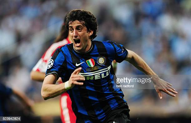 Diego Milito of Inter Milan celebrates scoring the first of his two goals during the UEFA Champions League Final between Bayern Munich and Inter...