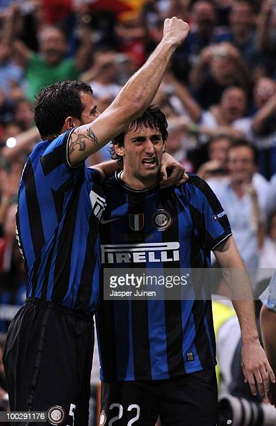 Diego Milito of Inter Milan celebrates with team mate Dejan Stankovic after scoring the second goal during the UEFA Champions League Final match...
