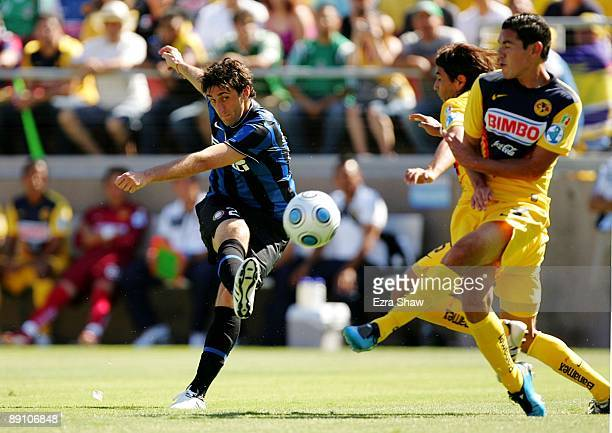 Diego Milito of Inter Milan misses a shot on goal in the first half against Club America during the World Football Challenge at Stanford Stadium on...
