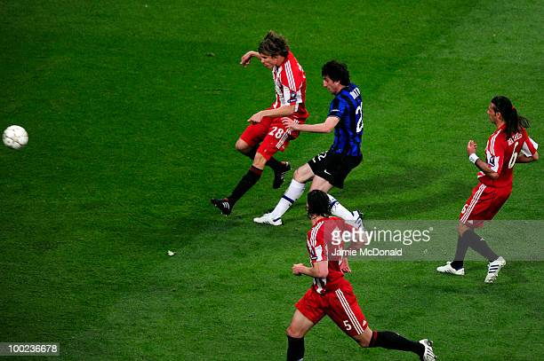 Diego Milito of Inter Milan scores the opening goal during the UEFA Champions League Final match between FC Bayern Muenchen and Inter Milan at the...