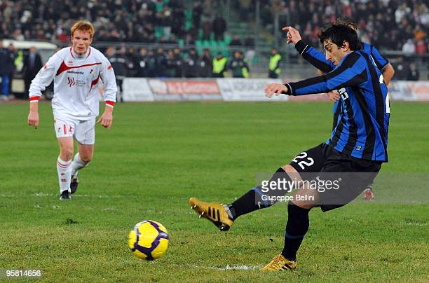 Diego Milito of Inter scores from the penalty spot during the Serie A match between Bari and Inter Milan at Stadio San Nicola on January 16, 2010 in...