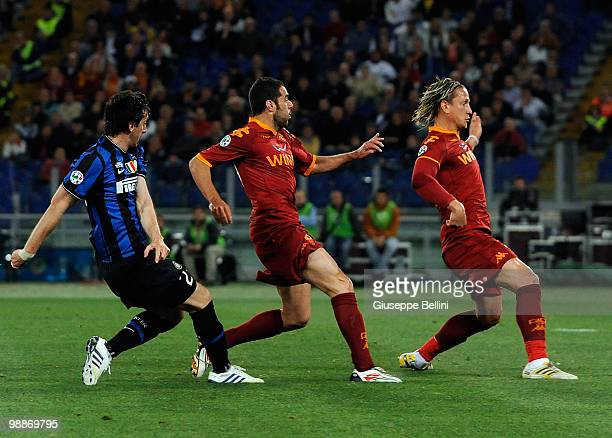 Diego Milito of Inter scores the opening goal during the Tim Cup between FC Internazionale Milano and AS Roma at Stadio Olimpico on May 5, 2010 in...