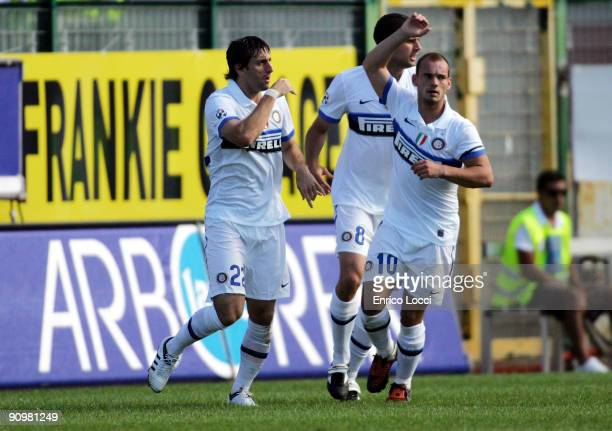 Diego Milito of Internazionale Milano celebrates after scoring a goal with Wesley Sneijder after scoring a goal during the Serie A match between...