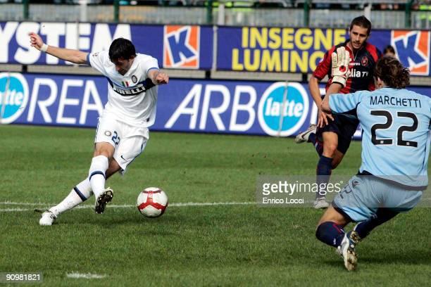 Diego Milito of Internazionale Milano scores during the Serie A match between Cagliari Calcio and Internazionale Milano at Stadio Sant'Elia on...