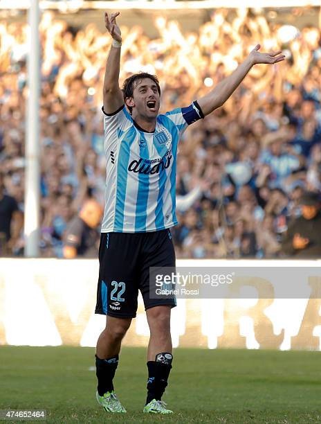 Diego Milito of Racing Club celebrates after winning a match between Racing Club and Independiente as part of 13th round of Torneo Primera Division...