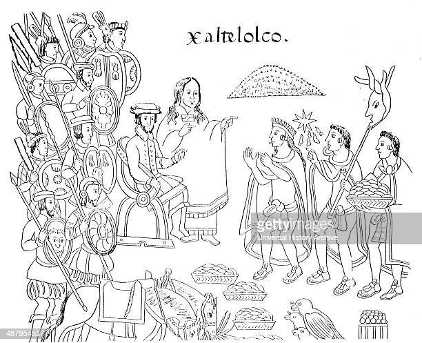 Diego Muñoz Camargo's History of Tlaxcala c 1585 showing La Malinche and Hernán Cortés