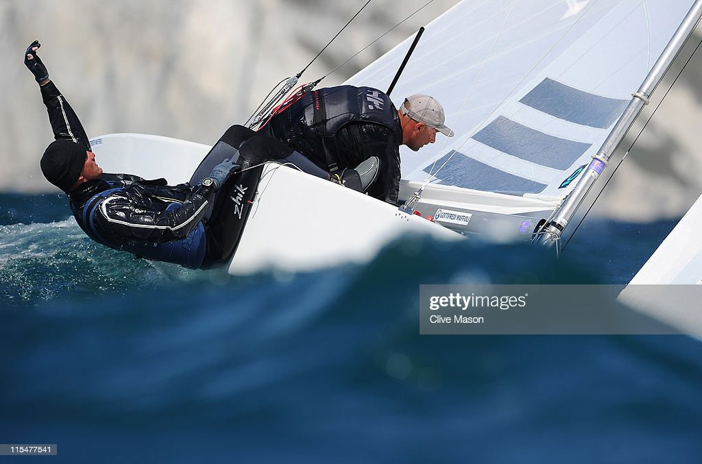 Diego Negri and Enrico Voltolini of Italy in action during a Star class race on day two of the Skandia Sail For Gold Regatta at the Wemouth and Portland National Sailing Academy on June 7, 2011 in Weymouth, England.