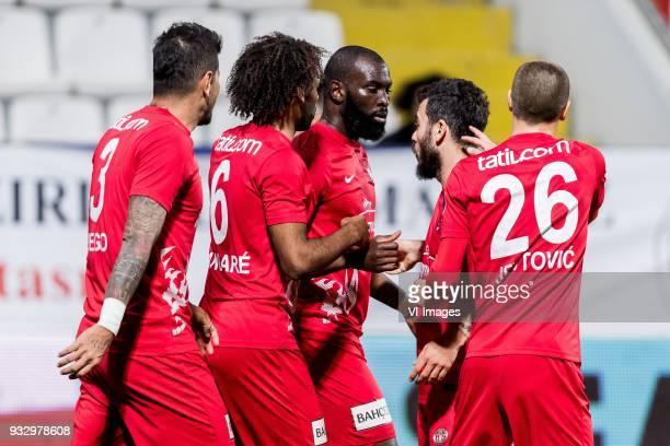 Diego Ângelo de Oliveira of Antalyaspor AS Nazim Sangare of Antalyaspor AS Souleymane Doukara of Antalyaspor AS Yekta Kurtulus of Antalyaspor AS...