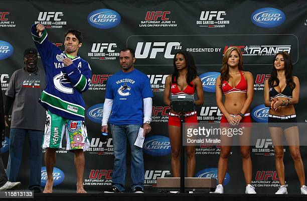 Diego Nunes gets a rousing reception from the fans as he walks on stage wearing a Vancouver Canucks jersey at the UFC 131 weighin at Jack Poole Plaza...