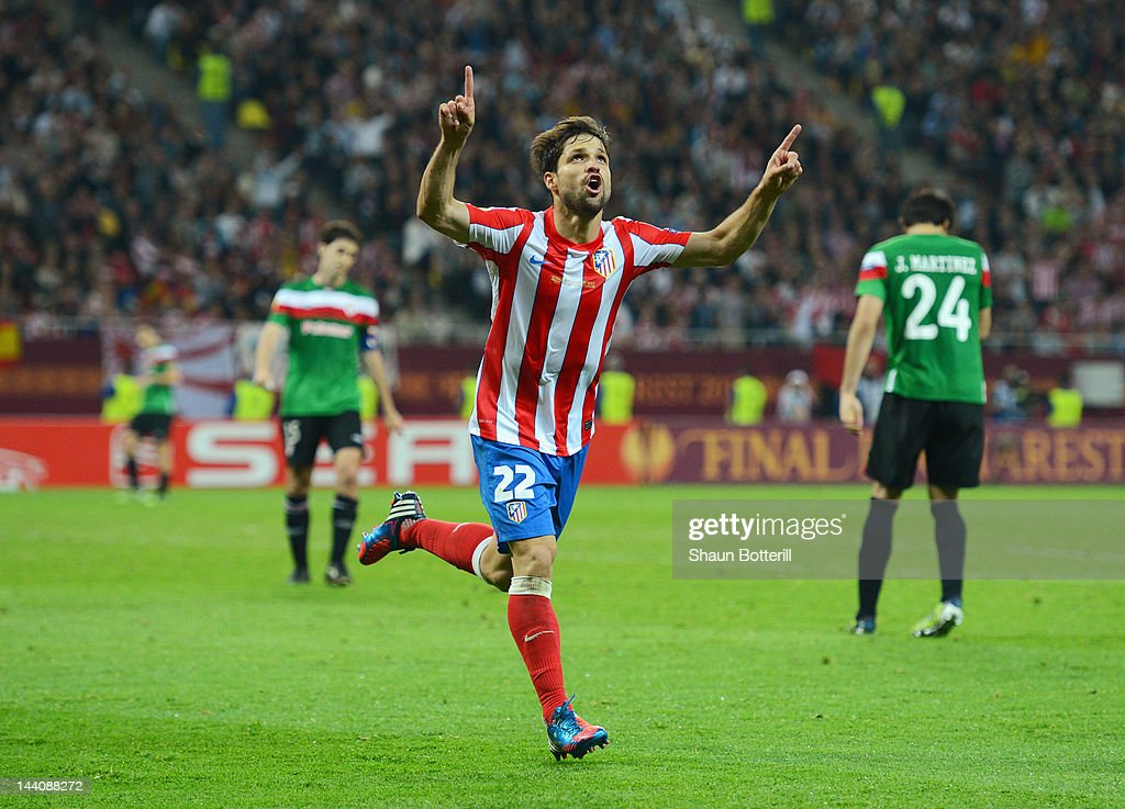 Diego of Atletico Madrid celebrates scoring his team's third goal during the UEFA Europa League Final between Atletico Madrid and Athletic Bilbao at the National Arena on May 9, 2012 in Bucharest, Romania.