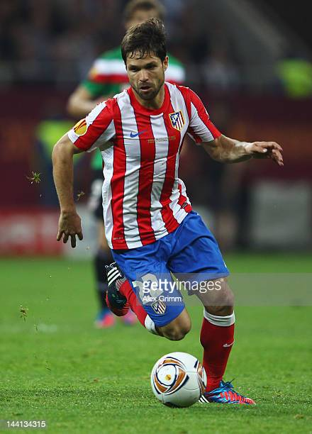 Diego of Atletico Madrid in action during the UEFA Europa League Final between Atletico Madrid and Athletic Bilbao at the National Arena on May 9...