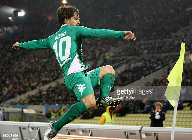 Diego of Bremen celebrates after scoring his team's first goal during the UEFA Cup quarter final second leg match between Udinese Calcio and SV...