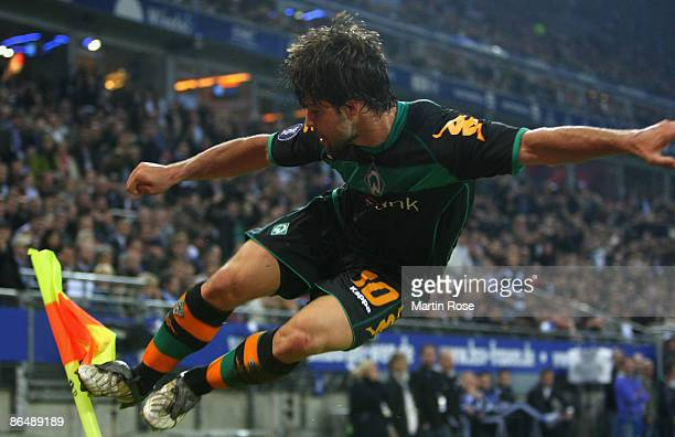 Diego of Bremen celebrates after scoring his team's fist goal during the UEFA Cup Semi Final second leg match between Hamburger SV and SV Werder...