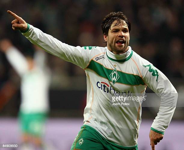 Diego of Bremen celebrates his first goal during the UEFA Cup Round of 32 first leg match between Werder Bremen and AC Milan at the Weser stadium on...