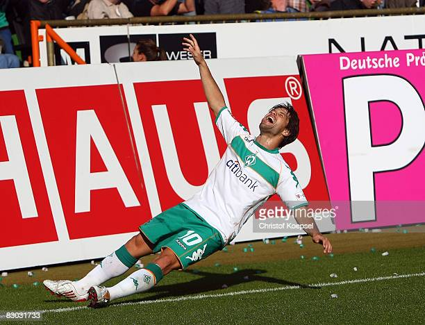 Diego of Bremen celebrates the third goal during the Bundesliga match between Werder Bremen and 1899 Hoffenheim at the Weser stadium on September 27...