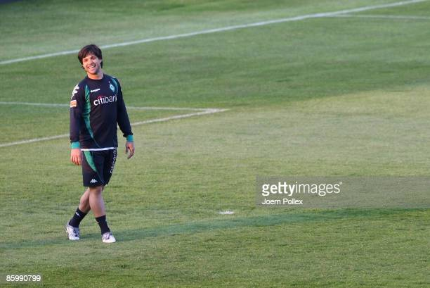 Diego of Bremen is seen during the training session ahead of Bremens UEFA Cup quarter-final match against Udinese Calcio at Stadio Friuli on April...