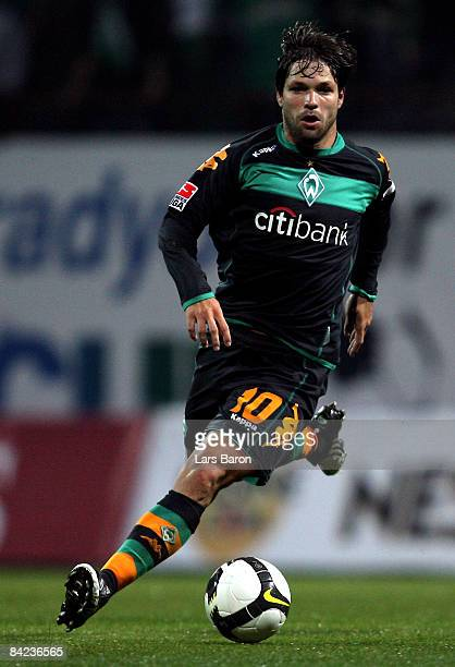 Diego of Bremen runs with the ball during the friendly match between Werder Bremen and Bursaspor at the Topkapi football ground on January 10, 2009...