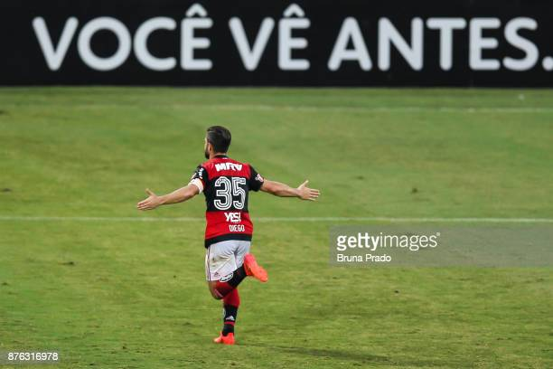 Diego of Flamengo celebrate a scored goal during the Brasileirao Series A 2017 match between Flamengo and Corinthians at Ilha do Urubu Stadium on...