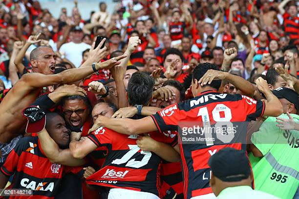 Diego of Flamengo celebrates a scored goal against Santos during a match between Flamengo and Santos as part of Brasileirao Series A 2016 at Maracana...