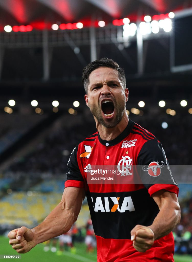 Diego of Flamengo celebrates a scored goal during a match between Flamengo and Botafogo part of Copa do Brasil Semi-Finals 2017 at Maracana Stadium on August 23, 2017 in Rio de Janeiro, Brazil.