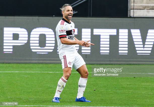 Diego of Flamengo celebrates after scoring the fifth goal of his team during the match against Corinthians as part of Brasileirao Series A 2020 at...