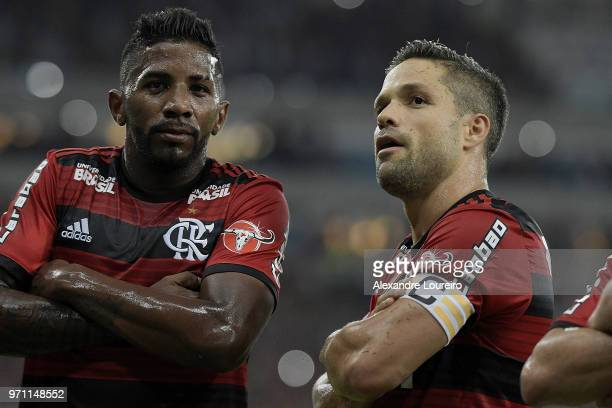 Diego of Flamengo celebrates their first scored goal with Rodinei during the match between Flamengo and Parana Clube as part of Brasileirao Series A...