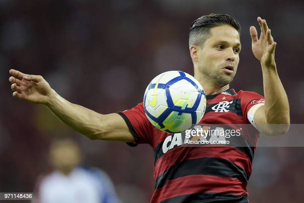 Diego of Flamengo in action during the match between Flamengo and Parana Clube as part of Brasileirao Series A 2018 at Maracana Stadium on June 10...