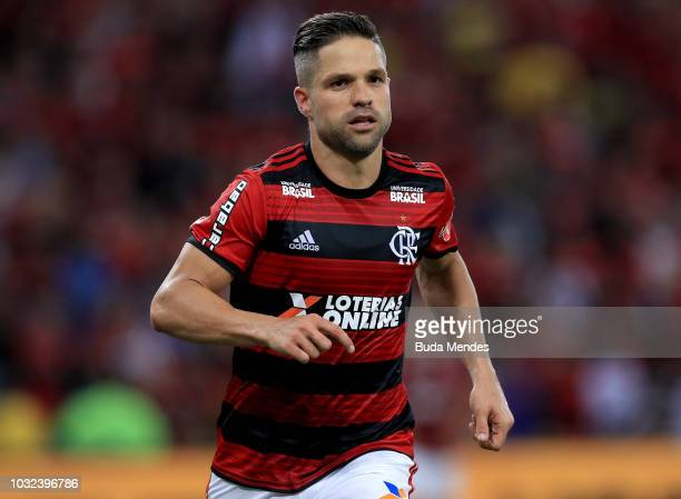 Diego of Flamengo looks on during a match between Flamengo and Corinthians as part of Copa do Brasil SemiFinals 2018 at Maracana Stadium on September...