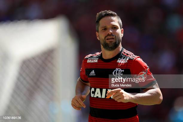Diego of Flamengo looks on during a match between Flamengo and Ceara as part of Brasileirao Series A 2018 at Maracana Stadium on September 02 2018 in...
