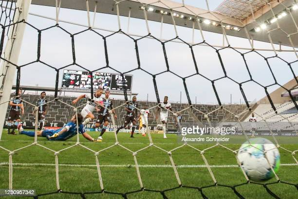 Diego of Flamengo scores the fifth goal of his team during the match against Corinthians as part of Brasileirao Series A 2020 at Neo Quimica Arena on...