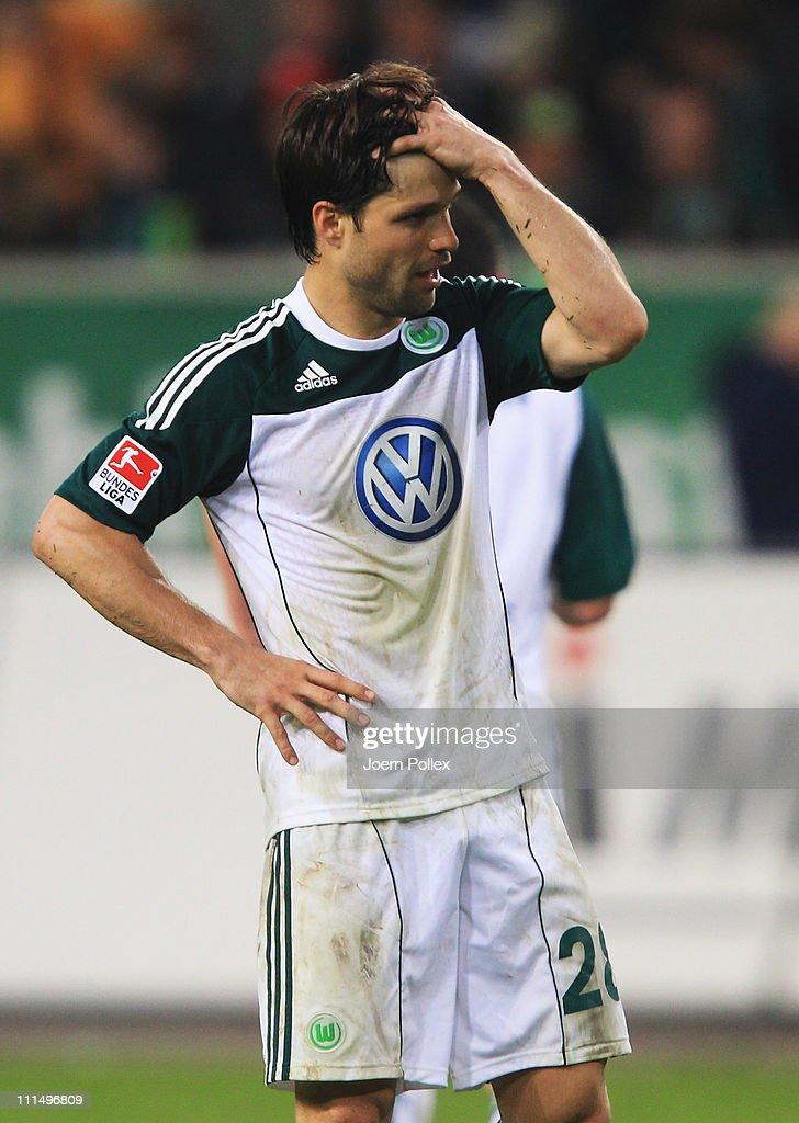 Diego of Wolfsburg gestures during the Bundesliga match between VfL Wolfsburg and Eintracht Frankfurt at Volkswagen Arena on April 3, 2011 in Wolfsburg, Germany.