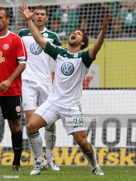 Diego of Wolfsburg reacts during the Bundesliga match between VFL Wolfsburg and FSV Mainz 05 at Volkswagen Arena on August 28 2010 in Wolfsburg...