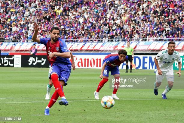 Diego Oliveira of FC Tokyo a penalty to score the second goal during the JLeague J1 match between FC Tokyo and Matsumoto Yamaga at Ajinomoto Stadium...